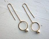 Pearl and Gold Orb Ear Threads Geometric Circle Ear threads