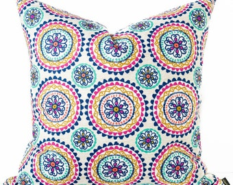 Boho blue pillow cover - Teal, Pink pillow - Suzani pillow - Tribal, Ethnic, Southwest pillow - South West pillow -