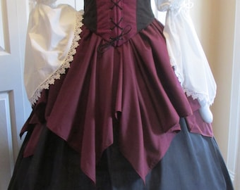 DDNJ 4pc Choose Fabrics Reversible Corset Style Bodice Chemise Petal Skirt FL Skirt Plus Custom Made ANY Size Costume Medieval Pirate Wench