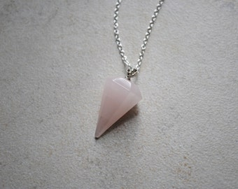 40% Off - Rose Quartz Pendulum Pendant/Necklace/Choker
