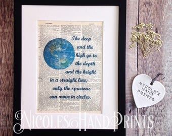 World Globe Print, Kahlil Gibran Quote, Poetry Print, Philosphy Gifts, Earth Globe, Custom Print, Gift for Women, Gift for men, Dictionary