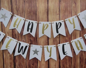 New Years Banner, New Years Eve Party Decorations, New Years Decor, Happy New Year Banner, New Years Party, 2018 banner, Gold Glitter Banner