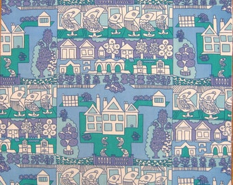 Kitsch Vintage 70s Cotton Fabric Remnant - Cute Houses and Trees