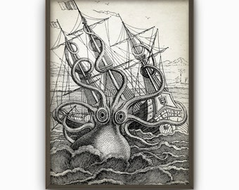 Octopus Vintage Marine Wall Art Poster - Marine Kraken Home Decor - Antique Octopus Illustration Art Print (B103)
