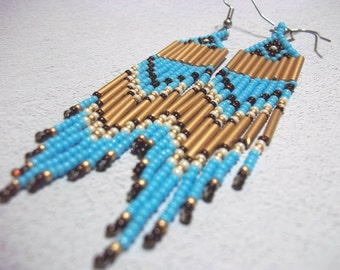 Carpal Tunnel Going Out of Business Sale! Turquoise gold, seed bead earrings, colorful earrings, dramatic, fringe earrings, boho earrings,