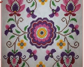 Hand-Sewn Cross Stitch Design