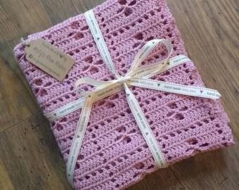 Crochet baby pram blanket in dusky pink, new baby gift, new baby present, baby shower gift, newborn photo prop