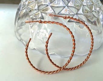 Twisted copper wire hoop earrings ~ These come in all different sizes