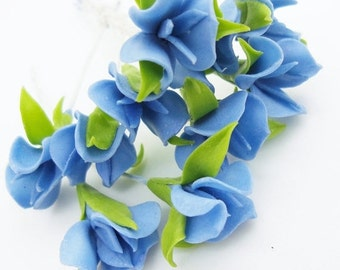 Miniature Polymer Clay Flowers Supplies for Dollhouse, Blue Gentian, set of 12 stems with leaves