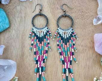 Boho Fringe Earrings, Long Seed Bead Earrings, Boho Seed Bead Earrings, Native American Inspired
