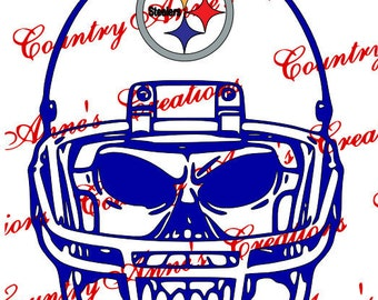 """SVG PNG DXF Cut file for Silhouette, Cricut, Pazzles, ScanNCut  -""""Skull with Helmet Steelers""""  svg- can do any team and all file formats"""