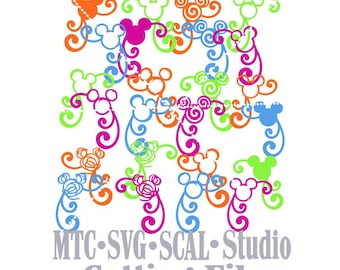 SVG Cut File Set 05 Mouse Head Flourished Bundle of 24 Head Designs MTC SCAL Cricut Silhoette Cutting Files