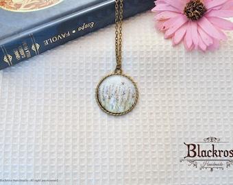 Antique Bronze Necklace-hand painted watercolor-lavender field
