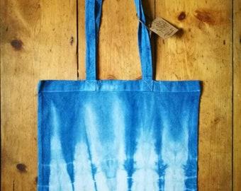 Shibori tie dye indigo tote bag handbag shopping bag
