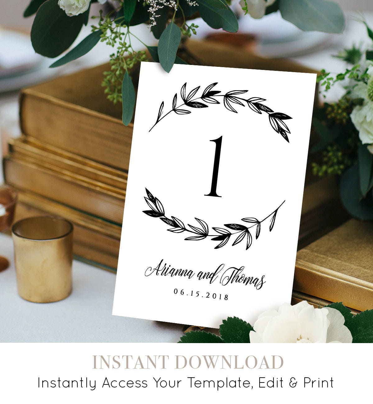 Wedding Table Number Card, Instant Download, Printable Seating Card ...