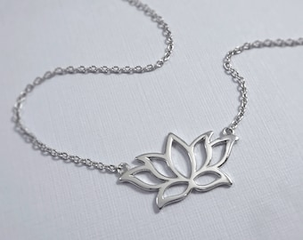 Sterling Silver Lotus Necklace, Lotus Jewelry, Yoga Jewelry, Yoga Necklace, Meditation Neckalce, Meditation Jewelry, Gift for Her