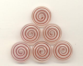 17mm range, Tom's handmade lampwork red and clear swirl 2 disc spacer/drops set, 1 pair 96655B