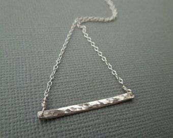 silver bar necklace, hammered bar necklace, minimalist silver necklace, delicate sterling silver, hammered bar, horizontal bar, wedding, N66