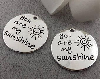 You are my sunshine : A simple charm necklace with affirmation