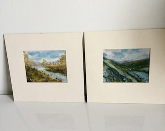 Original Art Oil Painting Miniature Silas Wood Landscape Painting Mounted X2