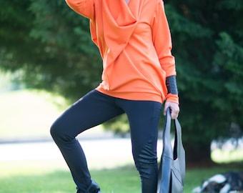 Trendy plus size clothing, Plus Size Maxi tunic, Oversize Orange Loose Casual Top, Womens plus sizes clothing, Extravagant Tunic  - TU0461PM