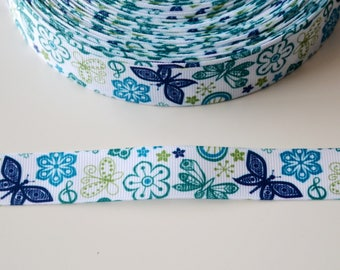 "Ribbon grosgrain ""BUTTERFLIES BLUISH"" 22mm"