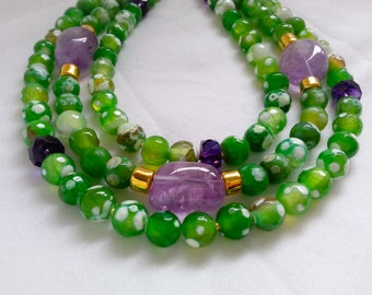 25% Off Sale Green Agate Amethyst Multi Strand Torsade Statement Necklace