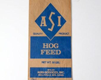 vintage ASI paper feed bag, blue paper farm sacks, country decor