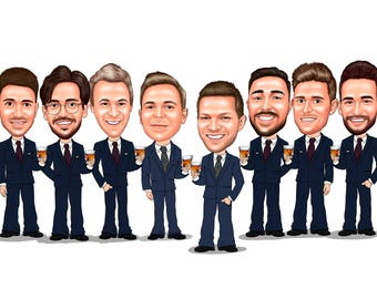 Groomsmen Caricature Gift / fun groomsmen gifts ideas / groomsmen cartoon / best man caricature / groomsmen portrait / stag party cartoon
