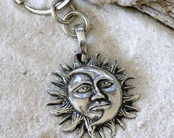 Pewter Sun Moon Face Lunar Solar Celestial Pagan Keychain Key Ring (21E)