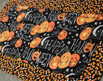 Orange Candy Corn  Halloween  Fall  12 1/2 X 25 Table Runner Topper