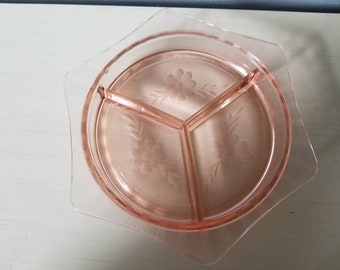 Vintage Pink Glass divided etched tray