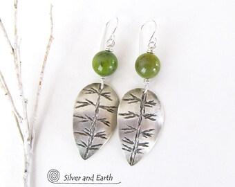 Sterling Silver Leaf Earrings, Green Jade Earrings, Handmade Silversmith Jewelry, Silver & Green Earrings, Nature Jewelry, Nature Lover Gift