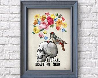 Skull with flowers print, artwork, human skull poster, wall decor, Natalprint.