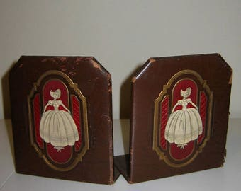 Vintage 1930's Durand Leather Clad Bookends, Southern Bell Design