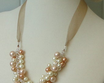 ON SALE BRIDESmaid Gift Ivory,Taupe & Champagne Pearl Cluster BRIDAL Maid Of Honor WEDDing Taupe Necklace By DYEnamite