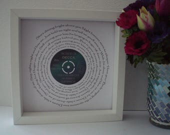 """Ella Fitzgerald 'Dream A Little Dream Of Me' 7"""" Single Song Lyric Frame for Birthday, Wedding, Anniversary, Engagement, Record Art,Gift"""