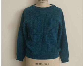 Vintage 80s aqua and black knit sweater