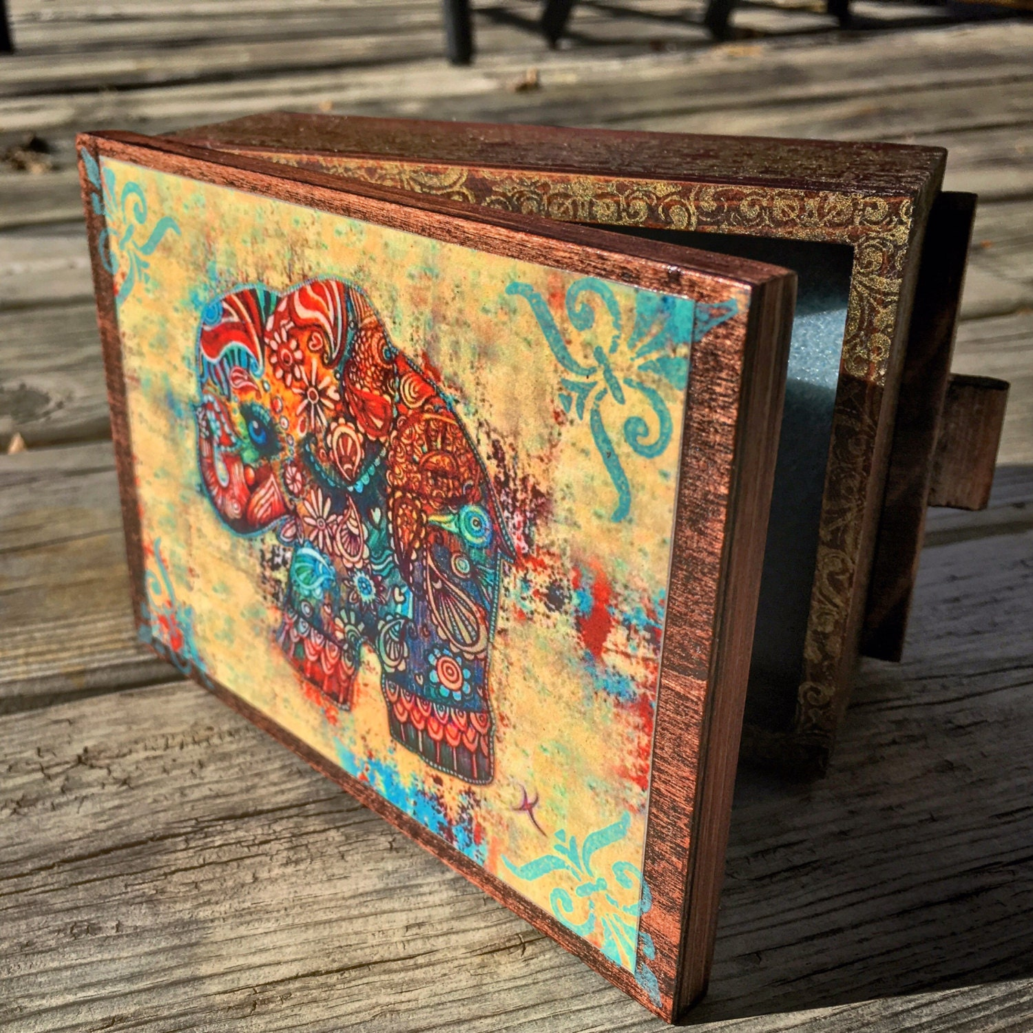 Vintage Bohemian Elephant Jewelry Box with mirror and