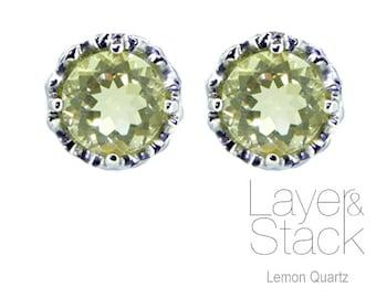 Layer & Stack Lemon Quartz Sterling Silver Stud Earrings