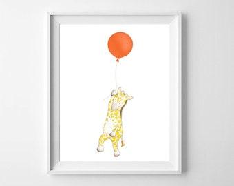 Giraffe Balloon Nursery Wall Art,Giraffe Nursery,Balloon Nursery,Giraffe Children,Giraffe Kids Giraffe Baby Room,Balloon Kids Art,Safari Kid