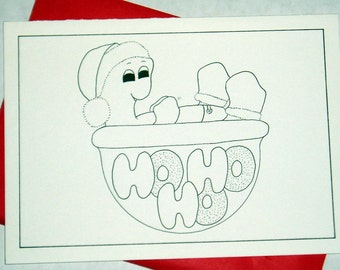 HoHoHo, cards, cards to color, children's cards, holiday cards, christmas cards, blank cards, turtles