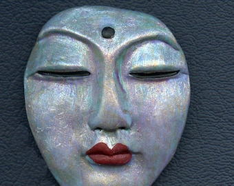 "Polymer  OOAK  Large Abstract  Detailed  Buddha Face Cab 2"" x  1 5/8 "" ABB 2"