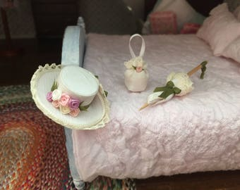 Miniature Hat, Purse and Umbrella Set, Flower Hat, Lace Trimmed, Dollhouse Miniatures, 1:12 Scale, Dollhouse Accessories, Decor