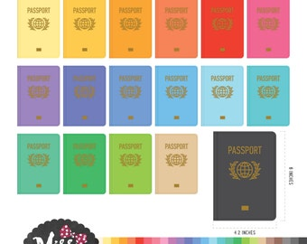 30 Colors Passport Clipart - Instant Download