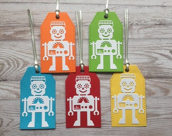 Set of 5 Handmade Die Cut Robot Gift Tags.  Labels. Party Bag Tags.  Robots.  Kids Party