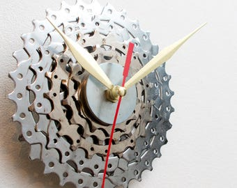 Boyfriend Gift, Husband Gift, Contemporary Clock, Small Wall Clock, Bicycle Clock, Unique Bike Clock, Industrial Decor, Decorative Clock