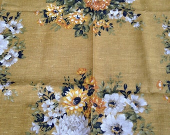 Over one yard of Vintage upholstery weight linen fabric