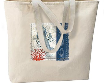 Blue Lobster New Jumbo Canvas Tote Bag Beach Travel Shop Events Gifts