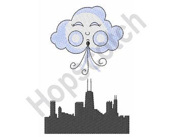 Windy City - Machine Embroidery Design - 4 X 4 Hoop, Chicago, Weather, Illinois, Cityscape, Sky Line